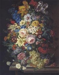 großes blumenstilleben mit rosen, tulpen, lilien, schwertlilien und andere by johann graf