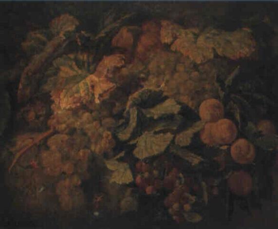 nature morte aux grappes de raisins pêches et framboises by simon saint jean