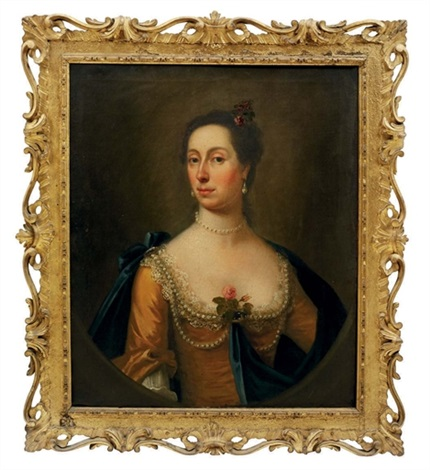 portrait of woman traditionally identified as the sister of samuel cook in a golden silk dress and blue wrap draped in pearls a rose at her corsage by francis lindo