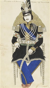 portrait of nasr-al-din shah qajar (reg. 1848-96), seated on a chair by sayyid muhammad al-husaini al-imami