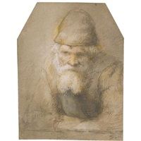 head and shoulders of a bearded old man (study) by constantijn daniel van renesse