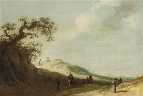 a landscape with travellers on a track by jan josefsz van goyen