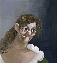 smiling girl with blue eye shadow by george condo