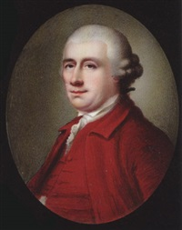 david garrick, his powdered hair en queue and in side buckles, wearing crimson coat, matching waistcoat and frilled white cravat by henry spicer