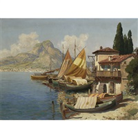mediterranean fishing boats at rest by gottfried arnegger