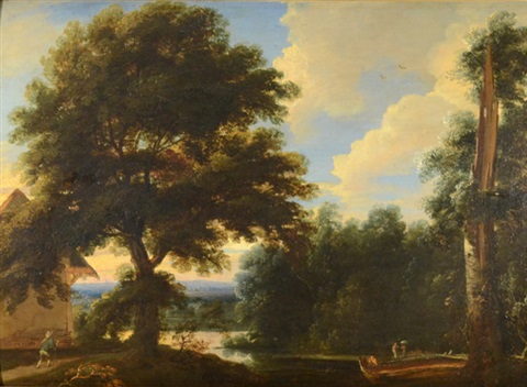 wooded landscape with pond and figures by jacques d' arthois