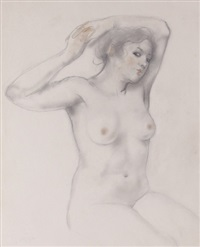 jeune femme nue assise by armand rassenfosse