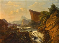 paysage de montagne avec fleuve by edouard wadin