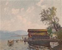 bootshaus an einem see by anton hans karlinsky