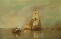 scène de bateau le long des côtes by julius huth