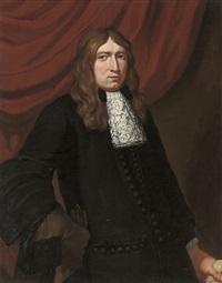 portrait of a gentleman in a black coat, wearing a hawking glove by pieter nason