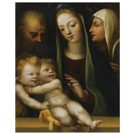 the holy family with the infant saint john the baptist and saint catherine of siena by domenico beccafumi