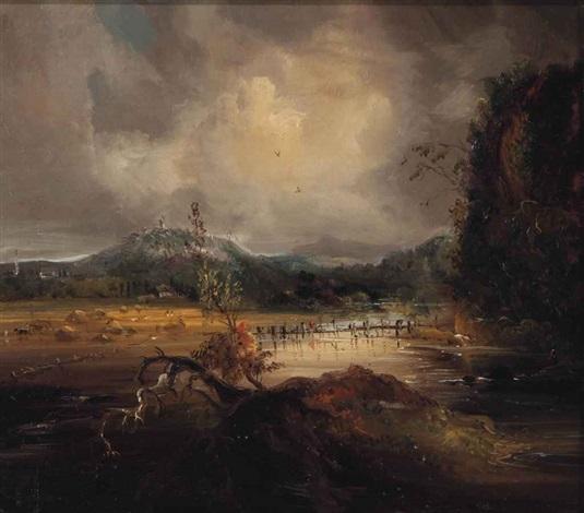 landscape harvest scene by george loring brown