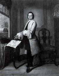 portrait of a gentleman standing in an interior, with a map of the americas resting on a table and a ship beyond seen through a window by tiebout regters