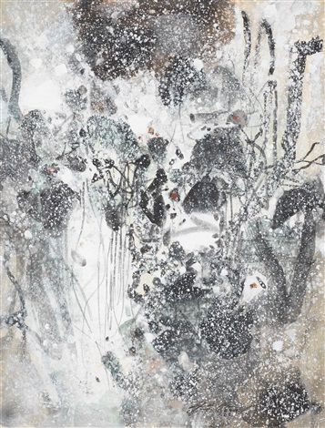 abstraction neige iii by chu teh-chun