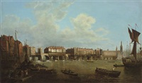 an extensive view of the thames and the city of london with old london bridge from the east by samuel scott