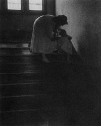 marjorie and elenore on staircase by yarnall abbott