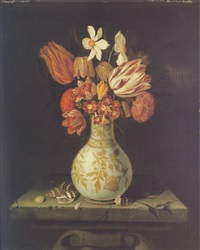 still life of a tulip, snake's head fritillaires, a carnation and other flowers in a porcelain vase on a marble ledge with sea-shells by dutch school-southern (17)
