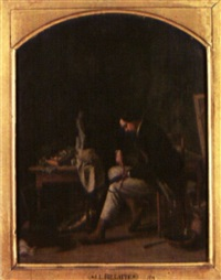 chasseur mettant son fusil en état by léon-joseph billotte