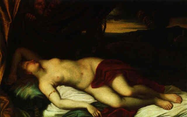 schlafende venus in einer landschaft von zwei satyrn beobachtet by federico cervelli