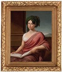 portrait einer dame mit buch (lady hamilton?) vor pfeiler und landschaftsausschnitt by andrea appiani