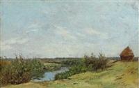 meule au bord de la rivière by edmond charles joseph yon