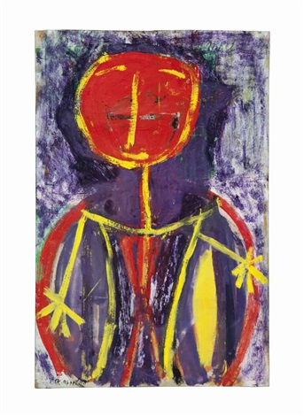untitled stick figure with large red head by karel appel