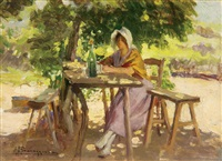 young woman resting in the shade by alexandre françois bonnardel