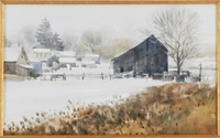 winter scene by g. russell case