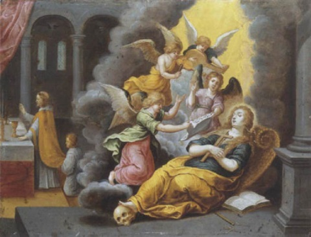 la mort de sainte madeleine portée par des anges by vincent adriaensz