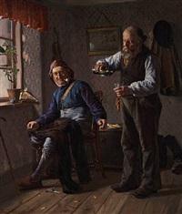 interior with two fishermen by christian pram henningsen