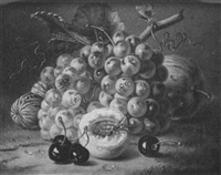 a still life of grapes, an apple, walnuts, cherries and an apricot by amalie kaercher