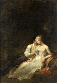 couple lisant une lettre by marguerite gérard