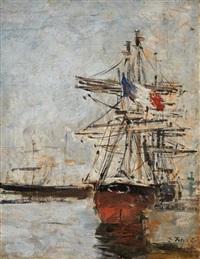 voilier au port by eugène boudin
