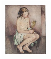 young girl with a mirror by anne wilson goldthwaite