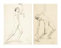 nude studies of milča mayerová (studie aktu milči mayerové) (2 works) by hugo böttinger