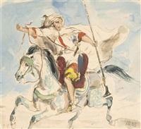 cavalier arabe à cheval by eugène delacroix
