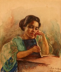 woman reading a book by fabian de la rosa