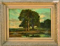 personnage au bord d'un étang by nicolas louis cabat