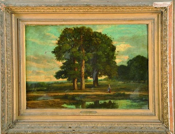 personnage au bord dun étang by nicolas louis cabat