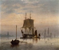 estuary scene with man-o'-war at anchor and hay barge by charles arthur lodder