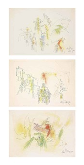 sans titre (trois compositions) (3 works) by wifredo lam