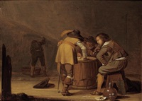 soldiers in a guardroom smoking and playing dice on a drum by pieter symonsz potter