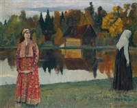 by the lake by mikhail vasilievich nesterov