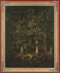 a huntsman in a forest glade by godefroy de hagemann