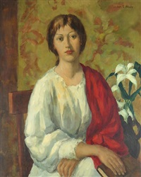 woman with a red shawl by ivan g. olinsky