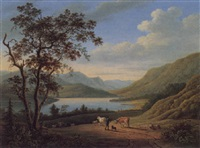driving cattle by a loch by elizabeth nasmyth