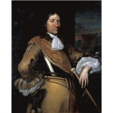portrait of a soldier half length wearing a buff surcoat and breastplate and holding a baton by juriaen jacobsz
