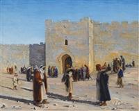 herod's gate, jerusalem by ludwig blum