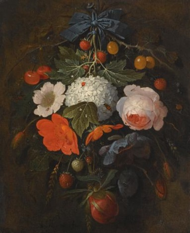 a festoon of flowers and fruit including a pink rose a poppy a snowball gooseberries and fraises de bois along with a variety of insects by abraham mignon